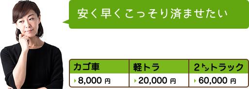 安く早くこっそり済ませたい カゴ車8,000円 軽トラ20,000円 2㌧トラック60,000円